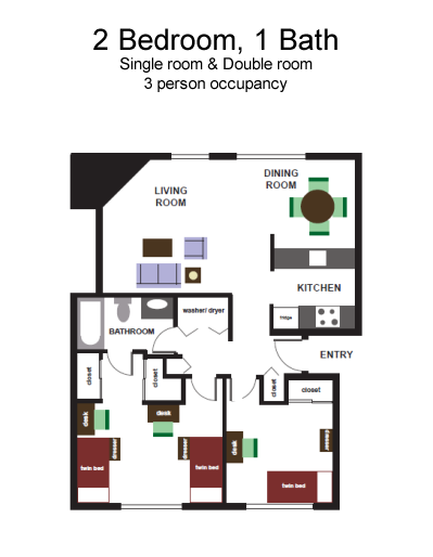 2 Bedroom, 1 Bath floorplan - 869 sq. feet