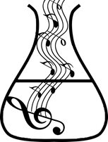 musical notes rising out of scientific flask