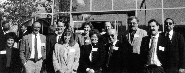 Group of founding faculty in front of the first UW Bothell location