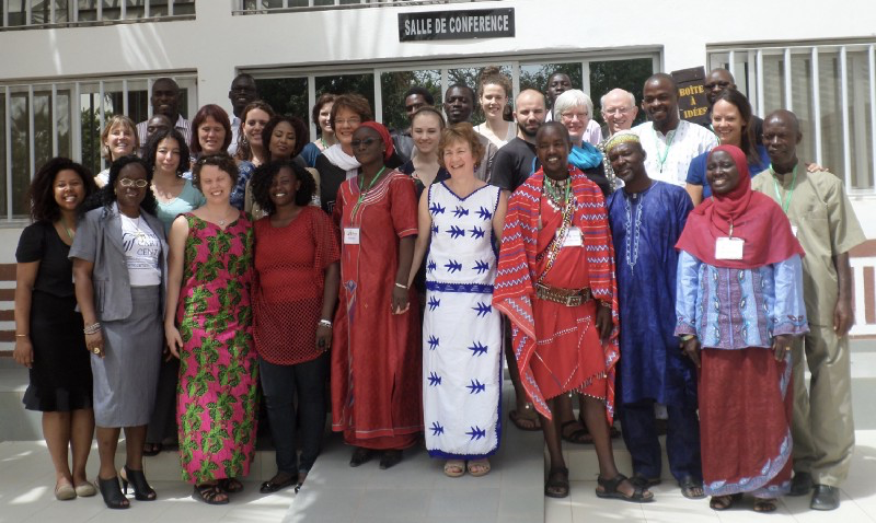 Diane and the participants in the first training seminar at the Tostan Training Center, 2015