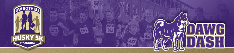 11th Annual U W Bothell Husky 5k Dawg Dash banner