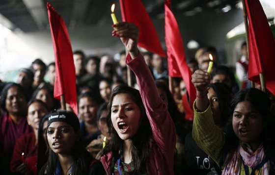 A protest to mark the first anniversary of the Delhi gang rape, in New Delhi, 2013.