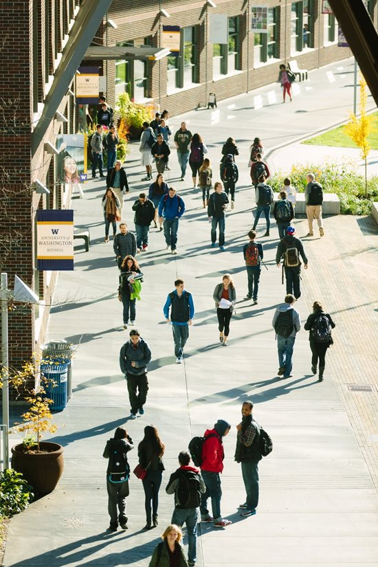 Students walking on the campus