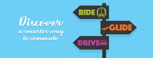 street sign saying Ride Glide, Drive. Text says Discover a smarter way to commute