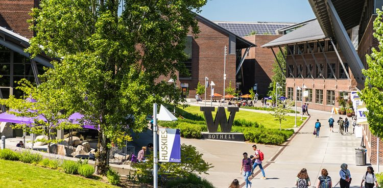 An aerial photo of the UW Bothell campus on a sunny day