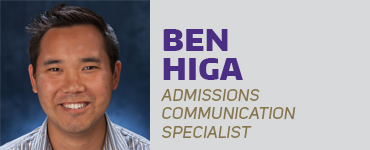 Ben Higa - Admissions Communication Specialist