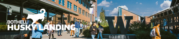 The W logo over an image of UW Bothell's campus with students walking around