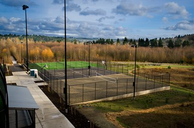 Sports and recreation courts and wetlands view