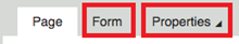 the page, form, and properties tab with the form and properties tabs with red boxes around.