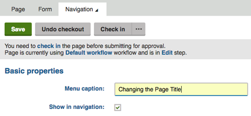 "navigation tab with the menu caption field highlghted with the text ""Changing the page title"" in the field."