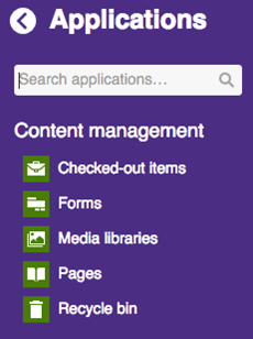 applications menu with content management section expanded