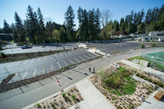 Aerial photo of new surface parking lot by Discovery Hall.