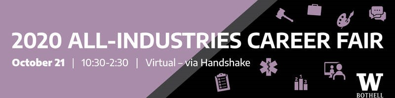 2020 All Industries Career Fair October 21, 10:30-2:30, virtual via Handshake