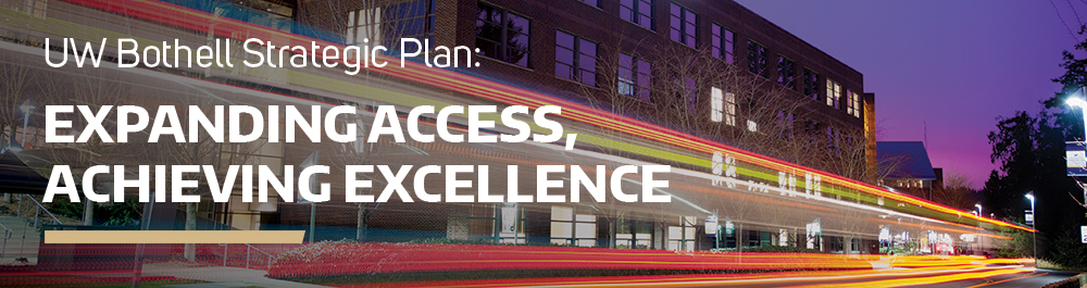UW Bothell Strategic Plan: Expanding Access, Achieving Excellence header graphic