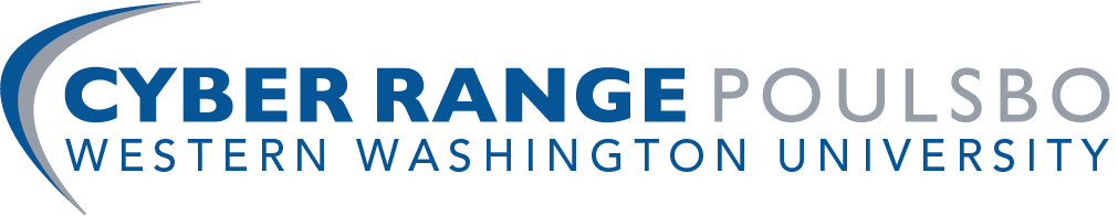 Logo in blue and grey for Cyber Range Poulsbo