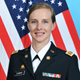 Profile picture of U.S. Army Captain Alyssa Cummin with American flag in background