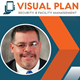 J Kelley Stewart headshot and logo for Visual Plan Security & Facility Management, blue and oarnge colors