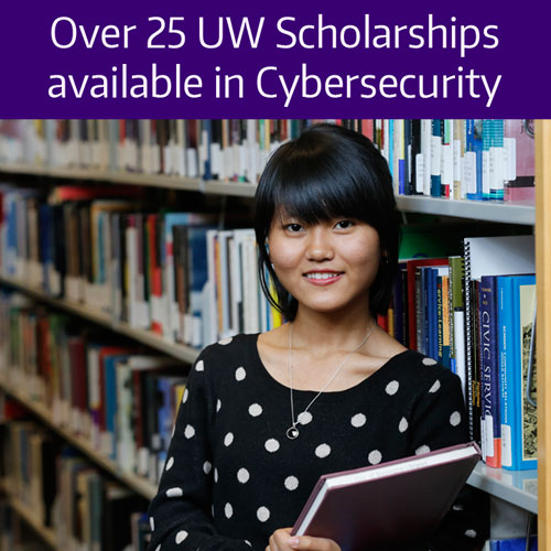 Over 25 UW Scholarships available in cybersecurity, female student standing in library.jpg