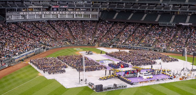 all of the graduates on the field and guests in the stands of safeco field