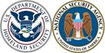 U.S. Department of Homeland Security logo (left) and National Security Agency logo (right)