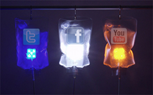 social media icons on IV drip bags