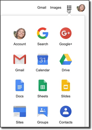G Suite tools available by selecting the apps menu