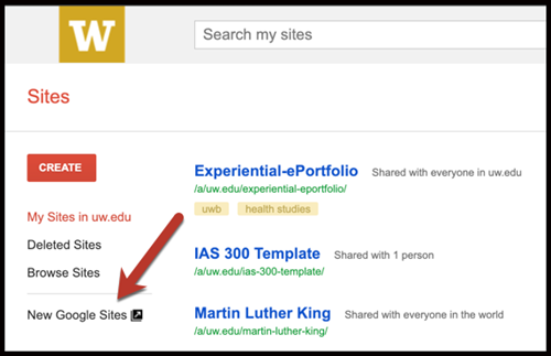 Classic Google Sites Interface with the New Google Sites link highlighted