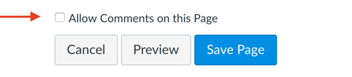Allow Comments on Page checkbox highlighted