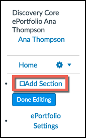 Add section button