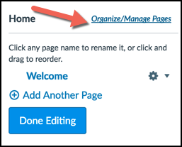 Organize/Manage Pages Link