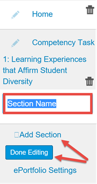 ePortfolio Section Name, Add Section and Done Editing options highlighted