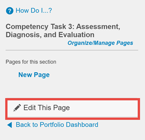 ePortfolio Edit This Page option highlighted