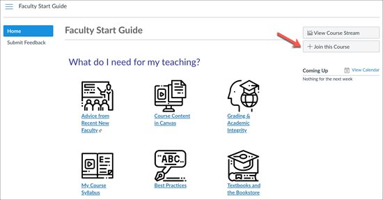 Faculty Start Guide home page