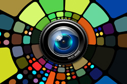 camara lens surrounded by color swatches
