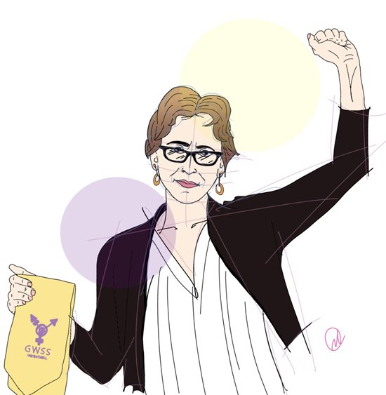 drawing of Julie Shayne with raised fist by Nicole Carter