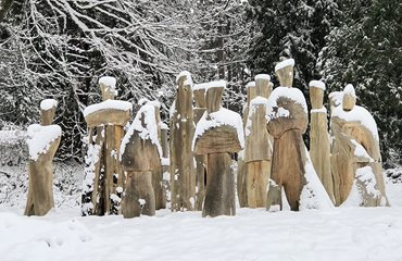 The ancestors art installation covered in snow