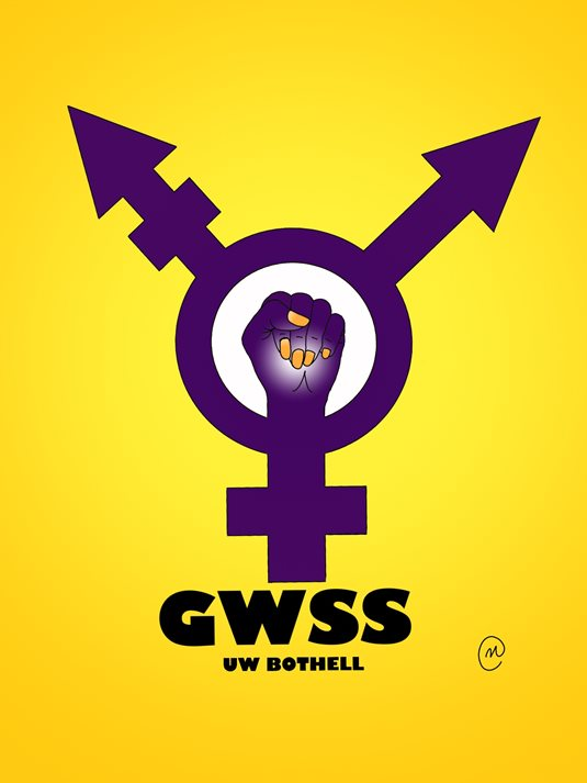 Gender Women and Sexuality logo with raised fist
