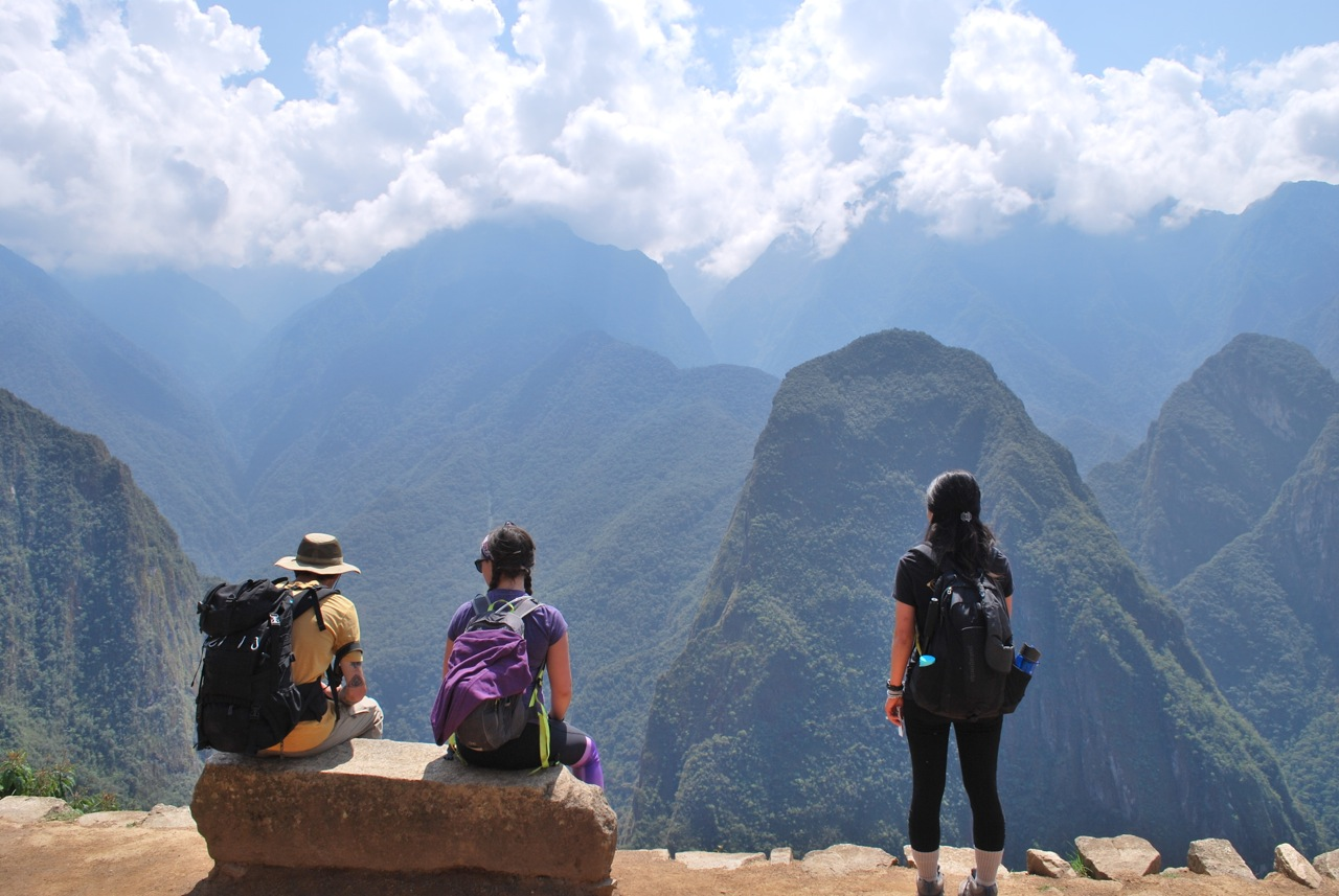 Students looking at the Machu Picchu mountains.