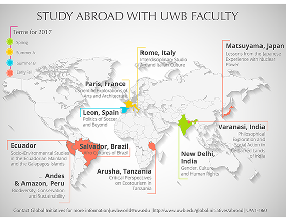 UWB Faculty Led study abroad programs for spring, summer and early fall programs for 2017, destinations are listed below