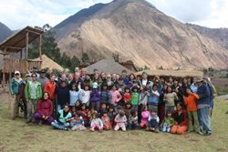 UW Students and children in Peru