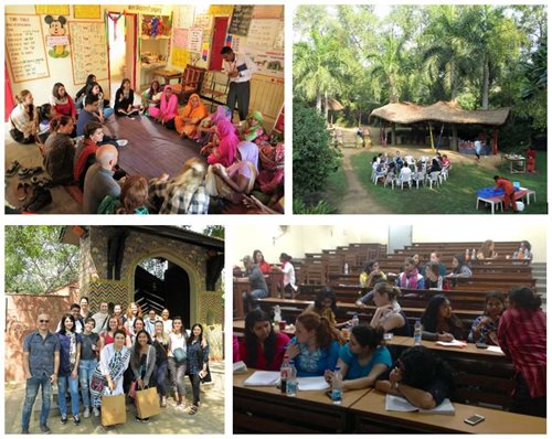 Photo collage of students in India