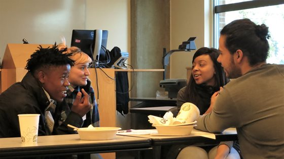 Students from the U.S. and South Africa engage in a lively discussion