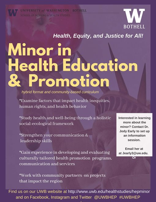 Health Education & Promotion minors contact jearly3@uw.edu for more information