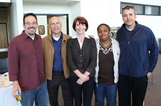 Angelica with her MACS advisors and thesis committee:  Dr. Ron Krabill (MACS), Dr. Greg Mullins (Evergreen College), Dr. Susan Harewood (MACS), and Dr. Jonathan Warren (LACS).
