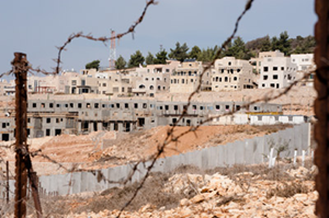 photo of Palestine with barbed wire