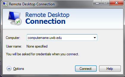 "in Computer drop down, type in the computer name in the format ""computername.uwb.edu"""