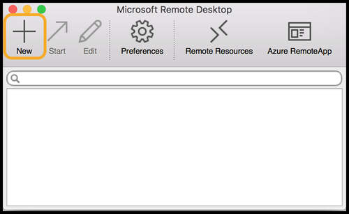 MS Remote Desktop window showing the New button