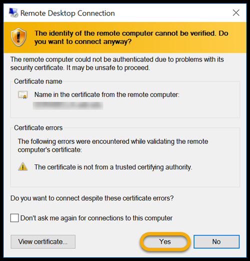 Security certificate notification