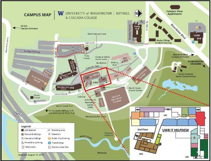 Campus map of UWB IT Heldesk location