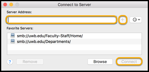 MacOS Connect to Server window